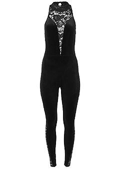 plus size velvet lace detail jumpsuit