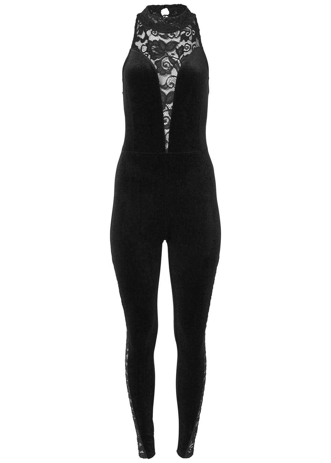 Velvet Lace Jumpsuit,Beaded Tassel Earrings,Rhinestone Clutch