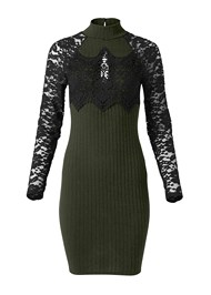 Alternate View Ribbed Dress With Lace