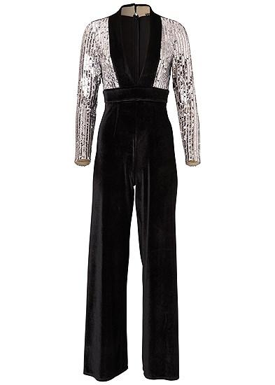 Plus Size Sequin Velvet Jumpsuit