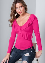Front View Ruffle V-Neck Top