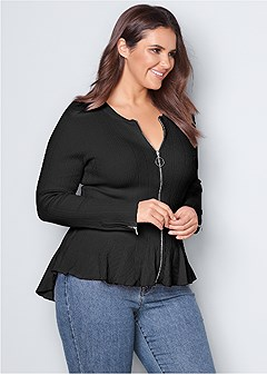 plus size zipper front peplum sweater