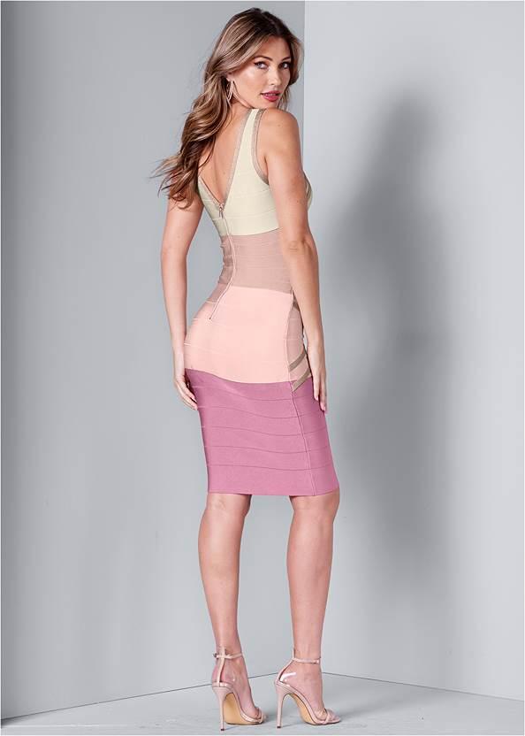 Full back view Bandage Color Block Dress