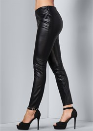 Waist down side view Faux Leather Leggings