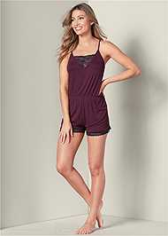 Full front view Lace Detail Sleep Romper