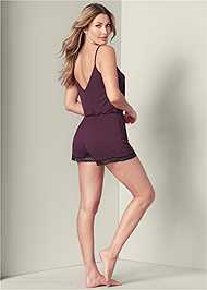 Full back view Lace Detail Sleep Romper