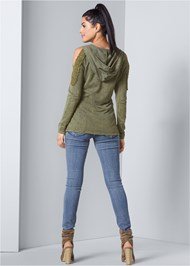Back View Cold Shoulder Lounge Hoodie