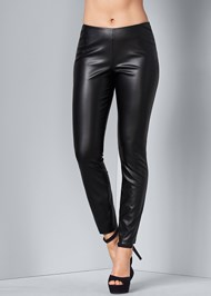 Waist down back view Faux Leather Leggings