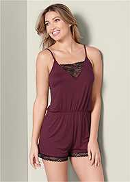 Cropped front view Lace Detail Sleep Romper