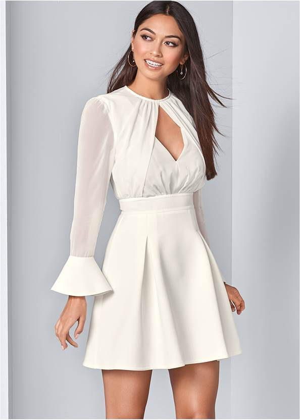 Cut Out Mixed Media Dress