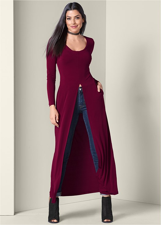 MAXI TOP,COLOR SKINNY JEANS,PERFORATED BOOTIES