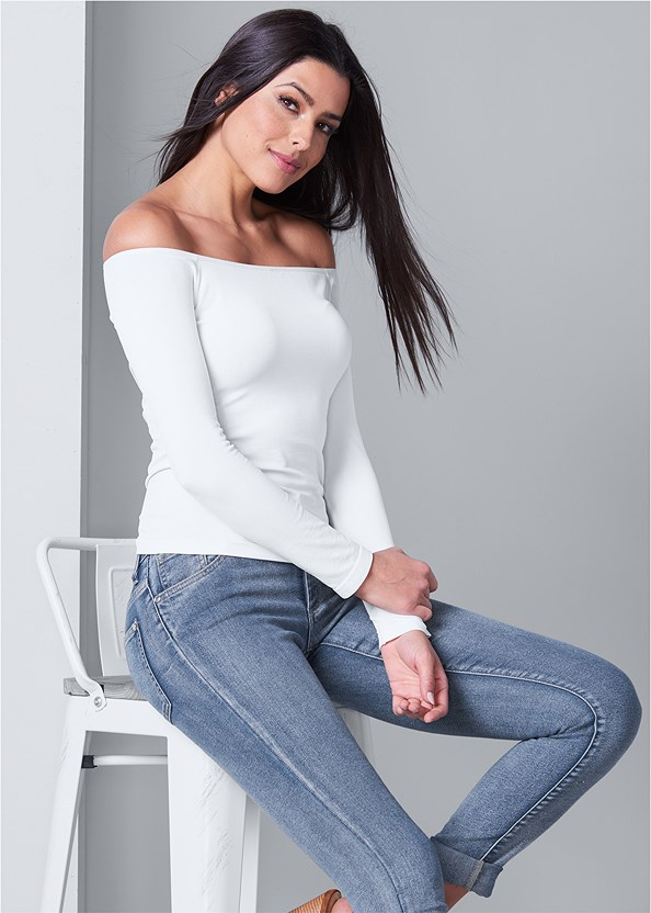 Off The Shoulder Top,Mid Rise Color Skinny Jeans,Open Heel Booties