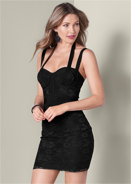 BANDAGE LACE DRESS,3 PK OF PETALS,PLATFORM HEELS