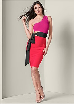 bandage tie detail dress