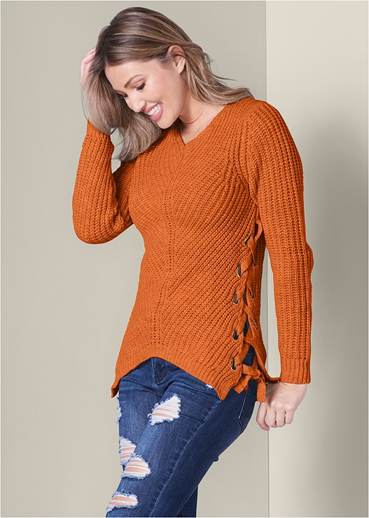 LACE UP SWEATER,DISTRESSED BUM LIFTER,FRONT HOOK MINIMIZER,WRAP STITCH DETAIL BOOTIES
