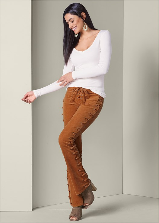 LACE UP CORDUROY PANTS,RIBBED V-NECK TOP,OPEN HEEL BOOTIE,BEADED DROP EARRINGS