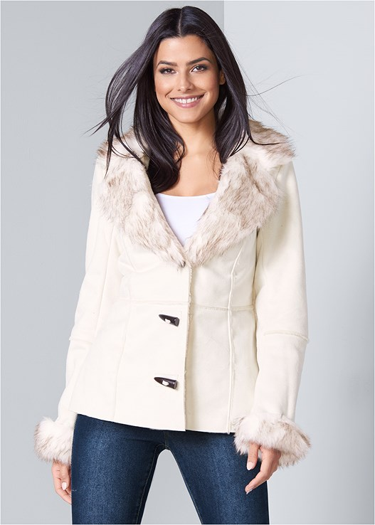 SHEARLING FAUX TRIM COAT
