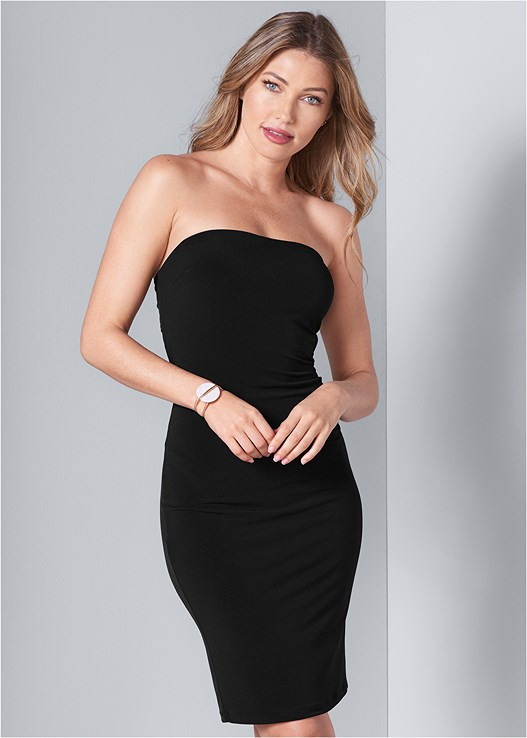 STRAPLESS BODYCON DRESS,BRAIDED DETAIL WEDGES