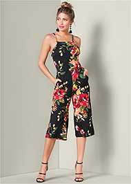 Back View Lace Up Floral Jumpsuit