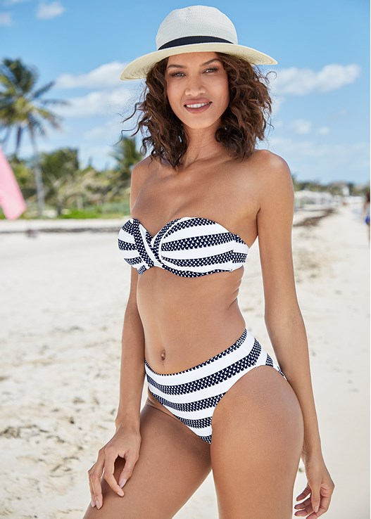 V FRONT BANDEAU TOP,HIGH WAIST MODERATE BOTTOM,STRAPPY SIDE BIKINI BOTTOM,ALLURING HIGH WAIST BOTTOM,ASYMMETRICAL BOTTOM
