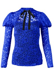 Front View Tie Neck Lace Top