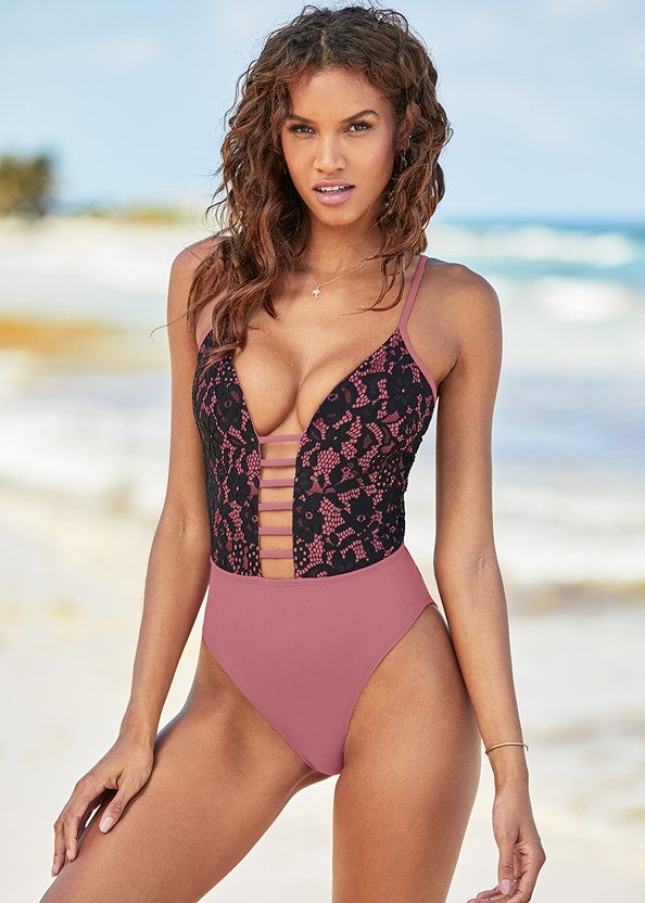 Lacy Plunge One-Piece,Boho Cover-Up Top,Boho Cover-Up Shorts