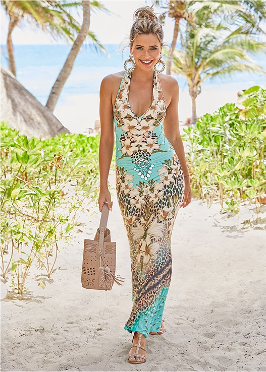 PRINTED MAXI DRESS,KNOT DETAIL SANDALS,PERFORATED HANDBAG