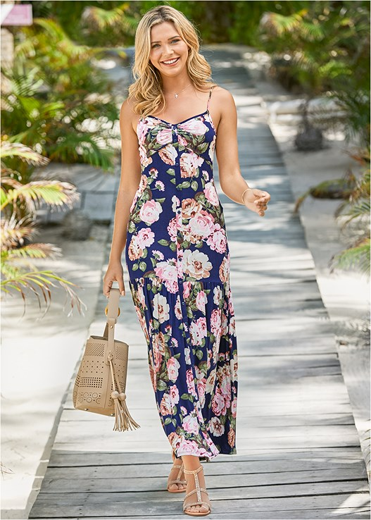 BUTTON FRONT MAXI DRESS,LACE BANDEAU BRALETTE