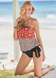 Front View Tie Side Blouson Tankini Top