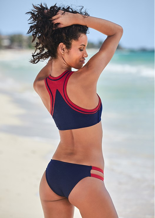 RIBBED CHEEKY BOTTOM,RIBBED COLOR BLOCK SNAP TOP,RIBBED SNAP SWIM CROP TOP,RIBBED KNOT FRONT TOP,RIBBED RACER BACK SNAP TOP