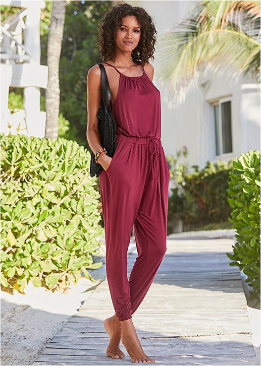 COVER-UP JUMPSUIT,VERSATILITY BY VENUS™  REVERSIBLE BANDEAU TOP,VERSATILITY BY VENUS ™ REVERSIBLE HIGH LEG BOTTOM