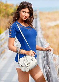 Alternate View Studded Satchel Crossbody
