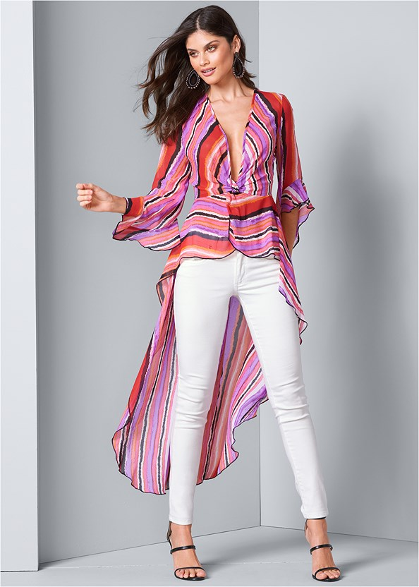 High Low Striped Top,Mid Rise Color Skinny Jeans,Cleavage Enhancers,Cupid U Plunge Bra,High Heel Strappy Sandals,Tear Drop Earrings