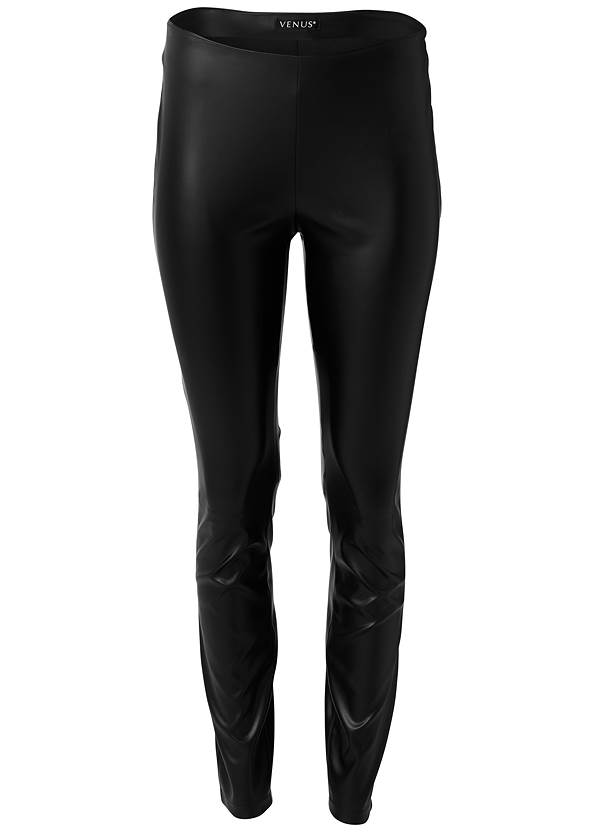 Ghost with background  view Faux Leather Leggings