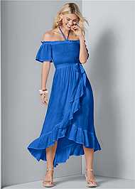 Front View Off Shoulder Ruffle Dress