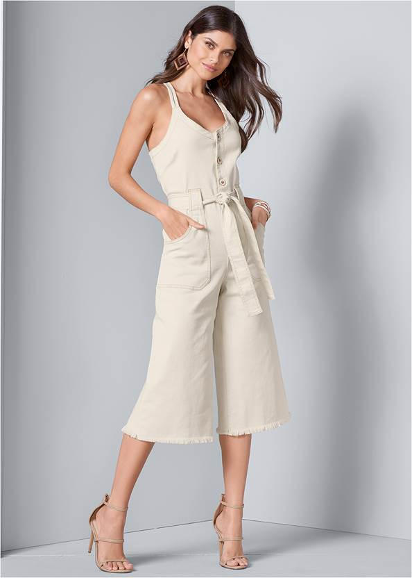 Tie Front Culotte Jumpsuit,High Heel Strappy Sandals,Wood Earrings