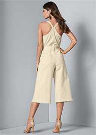 Back View Tie Front Culotte Jumpsuit