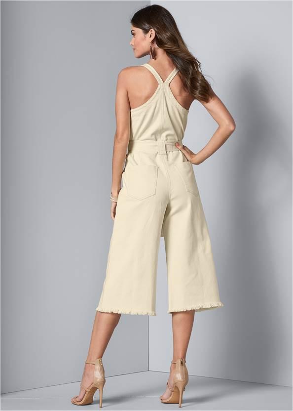 Back View Tie Front Culotte Jumpsuit