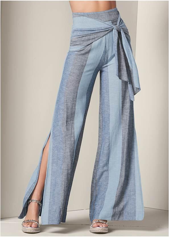 Front View Tie Front Linen Pants