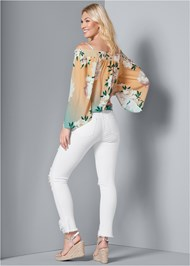 Back View Tie Front Floral Top