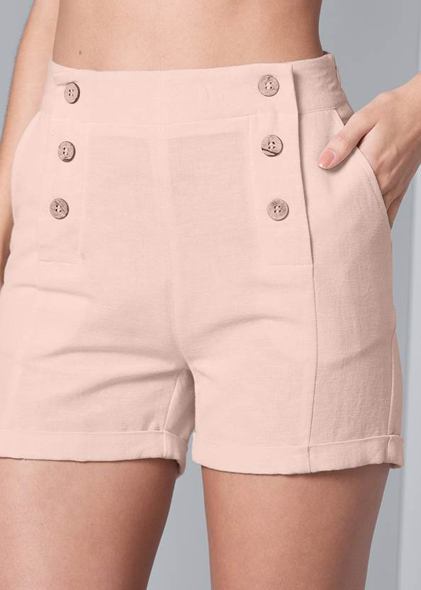 Alternate View Button Detail Linen Shorts