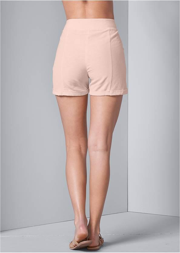 Back View Button Detail Linen Shorts
