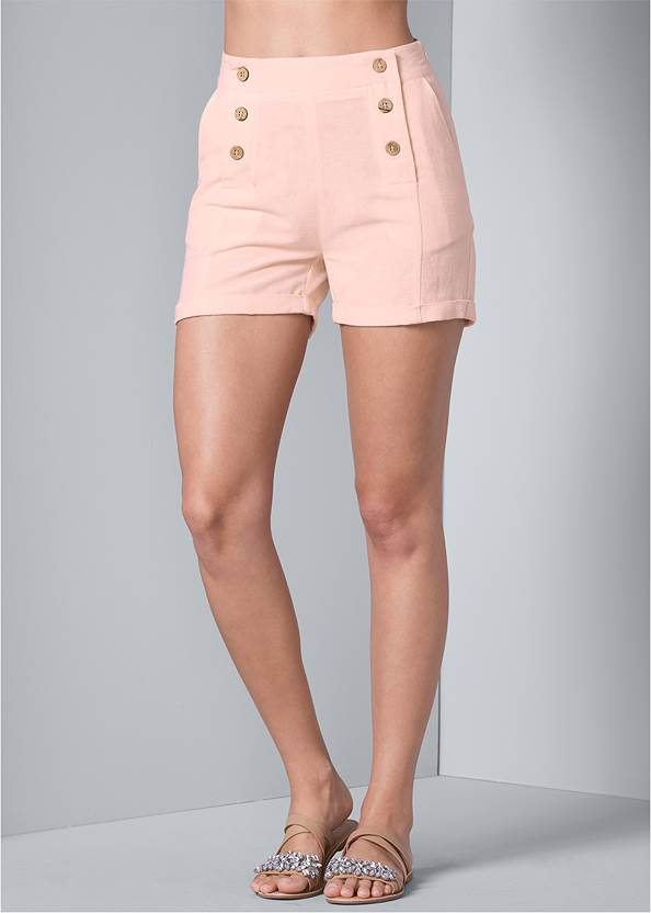 Front View Button Detail Linen Shorts