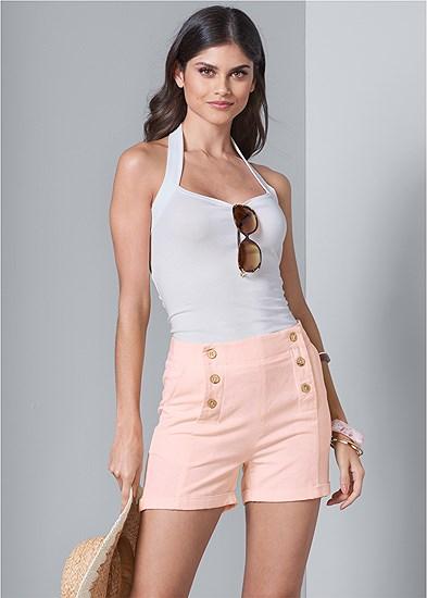 Button Detail Linen Shorts