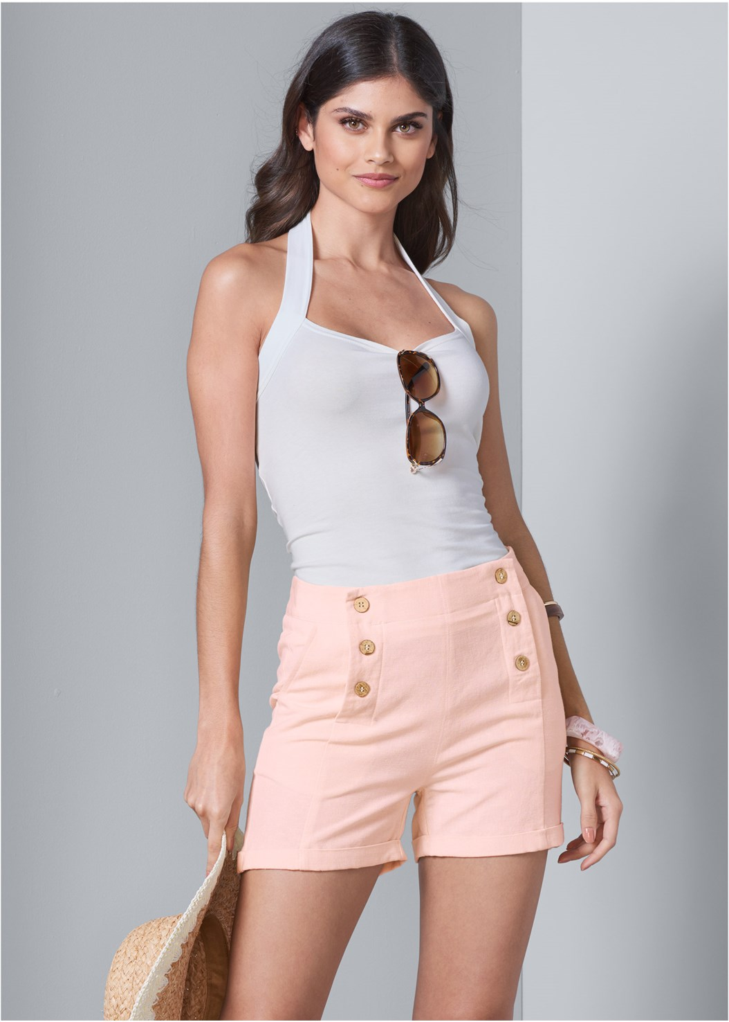 Button Detail Linen Shorts,Easy Halter Top,Lace Thong 3 For $19,Bead Detail Crochet Bag