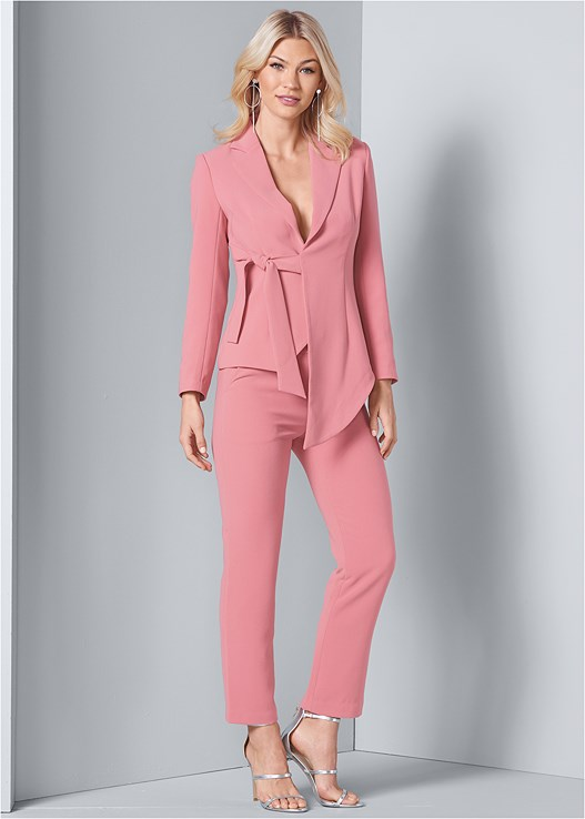 ASYMMETRICAL SUIT SET,SEAMLESS FULL BODY SHAPER,HIGH HEEL STRAPPY SANDALS,HOOP DETAIL EARRINGS