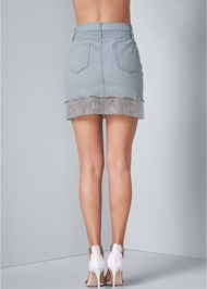 Back View Rhinestone Trim Denim Skirt