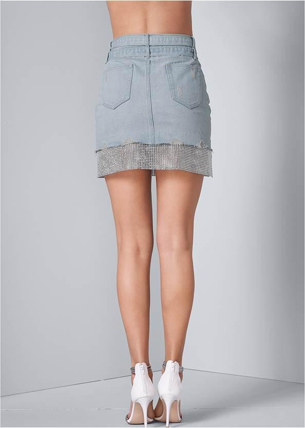Back View Rhinestone Trim Denim Skirt