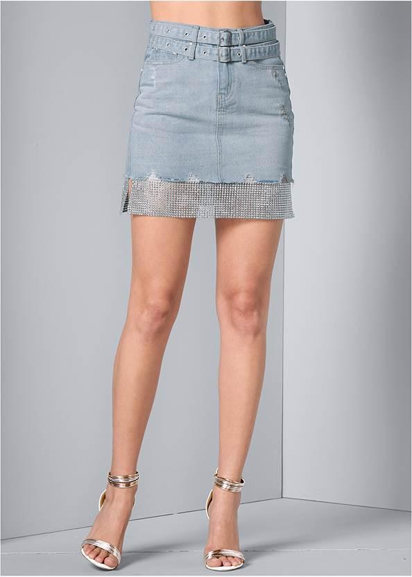 Front View Rhinestone Trim Denim Skirt