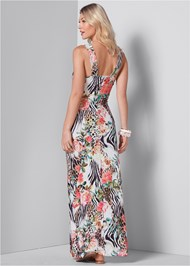 Back View Printed Maxi Dress